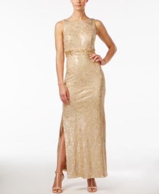 Calvin Klein Sequined Sleeveless Cowl Back Gown Metallic Dressgold