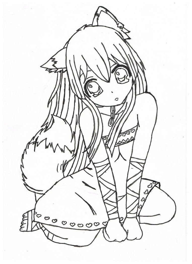 emo wolf couple emo anime girl coloring pages color