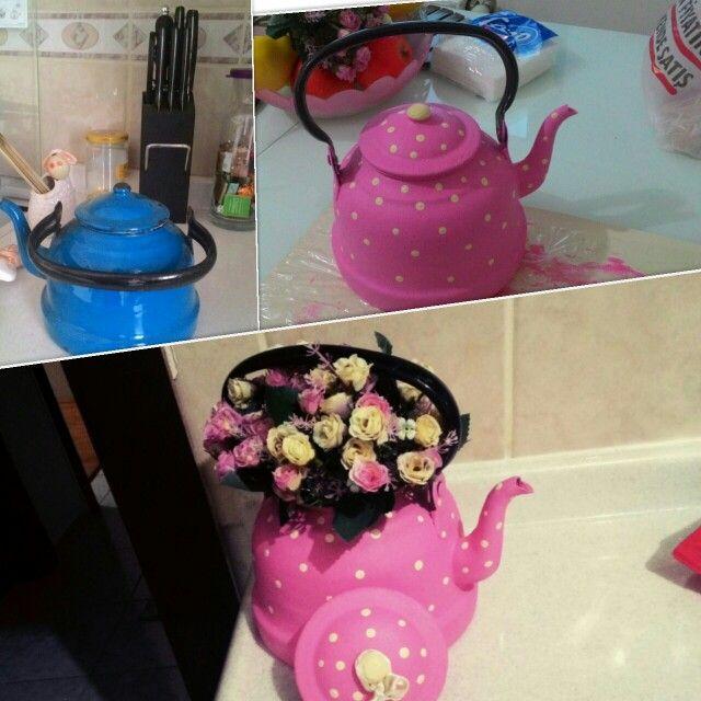 Emaye çaydanlık Boyama Ben Yaptım Ahşap Boyama Pinterest