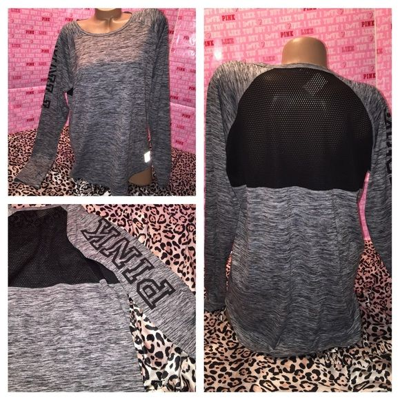 SOLD Vs Pink Marled Workout Crew Brand new with tags . This shirt is ADORABLE !!! This material is polyester so you stay dry while working out . This has an adorable mesh back & thumb holes by the wrist . Size large . PINK Victoria's Secret Tops Tees - Long Sleeve