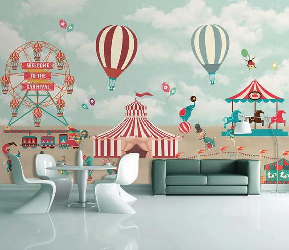 Kids Wallpaper Red Circus Wall Mural Amusement Park Wall Art Hot Air Balloon Wall Decor Nursery Room Baby Room Be Kids Wall Decor Kids Wallpaper Textured Walls