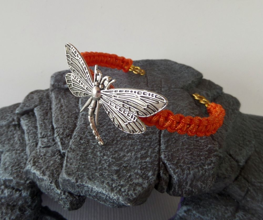 Dragonfly Dark Orange Macrame Cuff Bangle Bracelet #Handmade #CuffBracelet