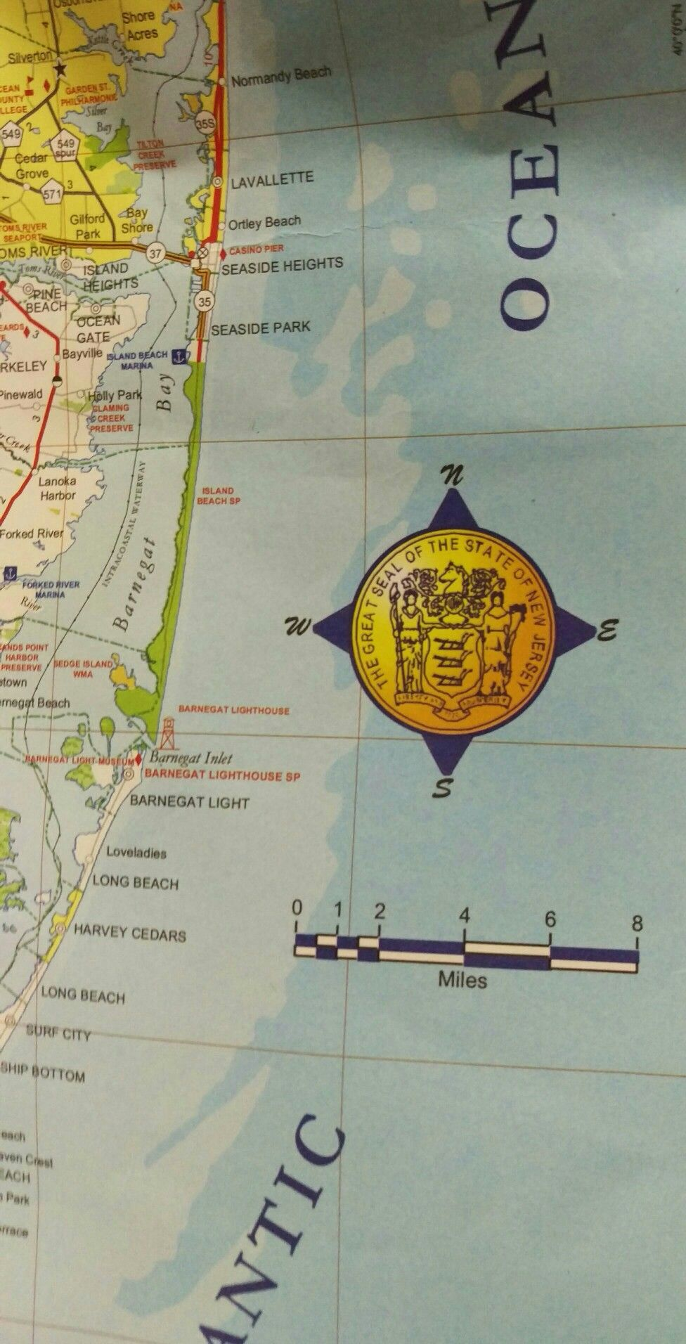 Compass Rose On The New Jersey 2017 State Transportation Map Printed At Williams Heintz Map Compass Rose Island Heights Bay Park