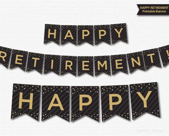 Retirement Banner Printable Black Gold Banner Happy Retirement