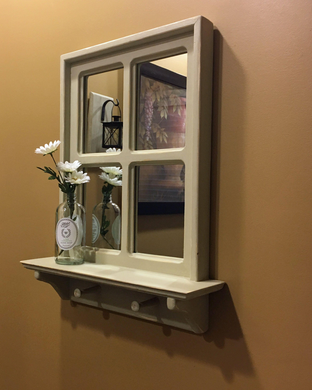 Farmhouse Mirror Rustic Wall Mirror In Beige Rustic Mirrors Wood Mirror Rustic Window