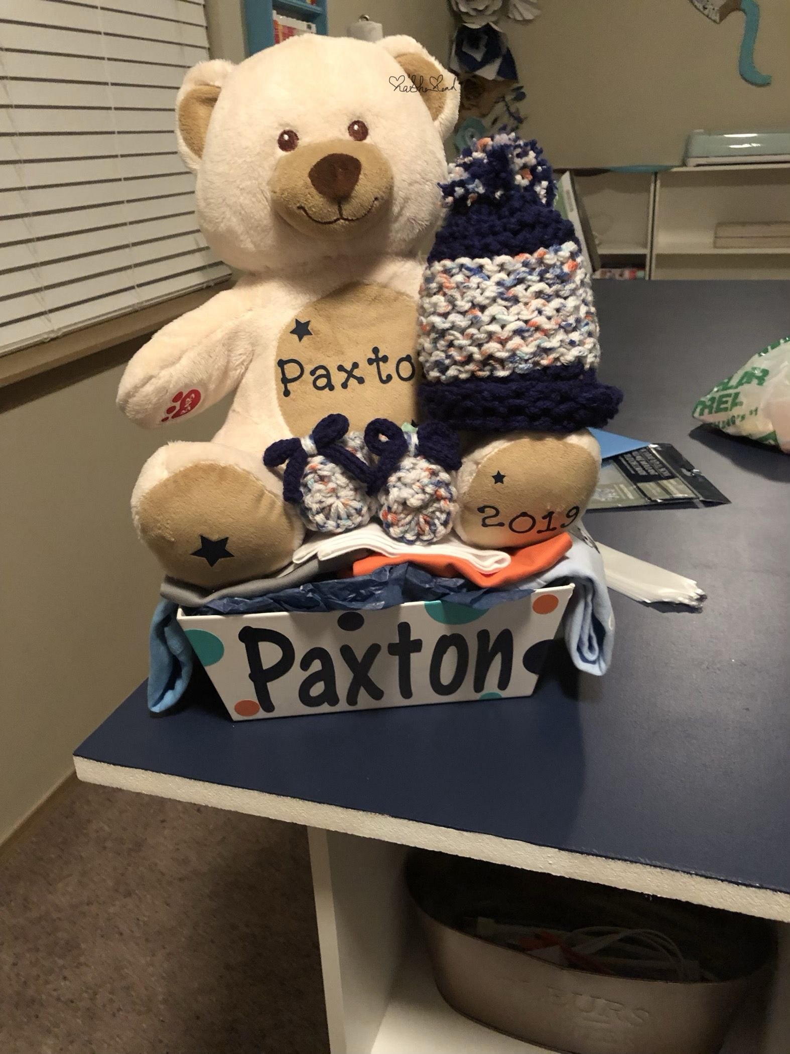 A gift basket made for my sons teacher for her first