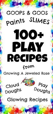 100+ recipes for goops, goos, paints, slimes, cloud doughs, play doughs and glowing recipes.  This is an amazing list!