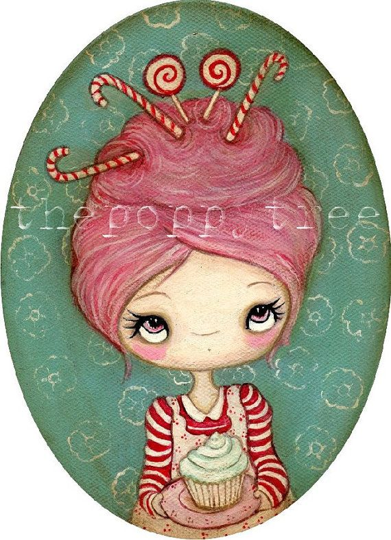 RESERVED Candy Cane Painting--- Candy Cane Baker Original Oval 5 x 7