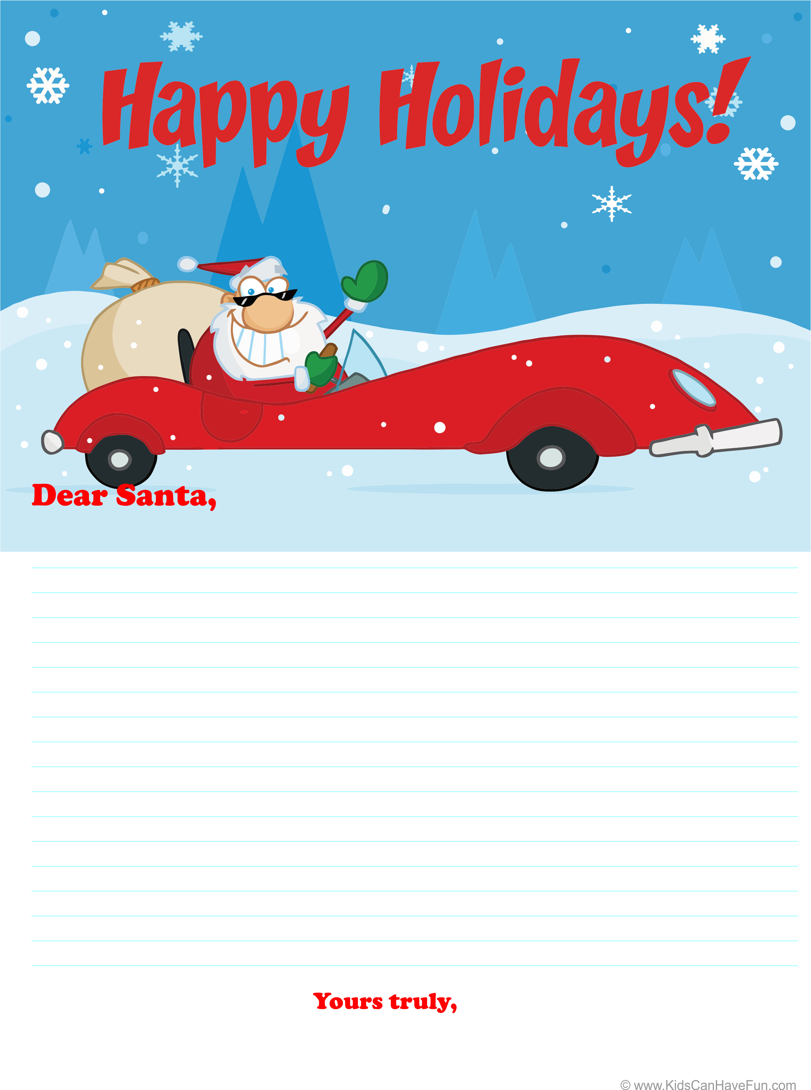 Dear Santa Letter Happy Holidays