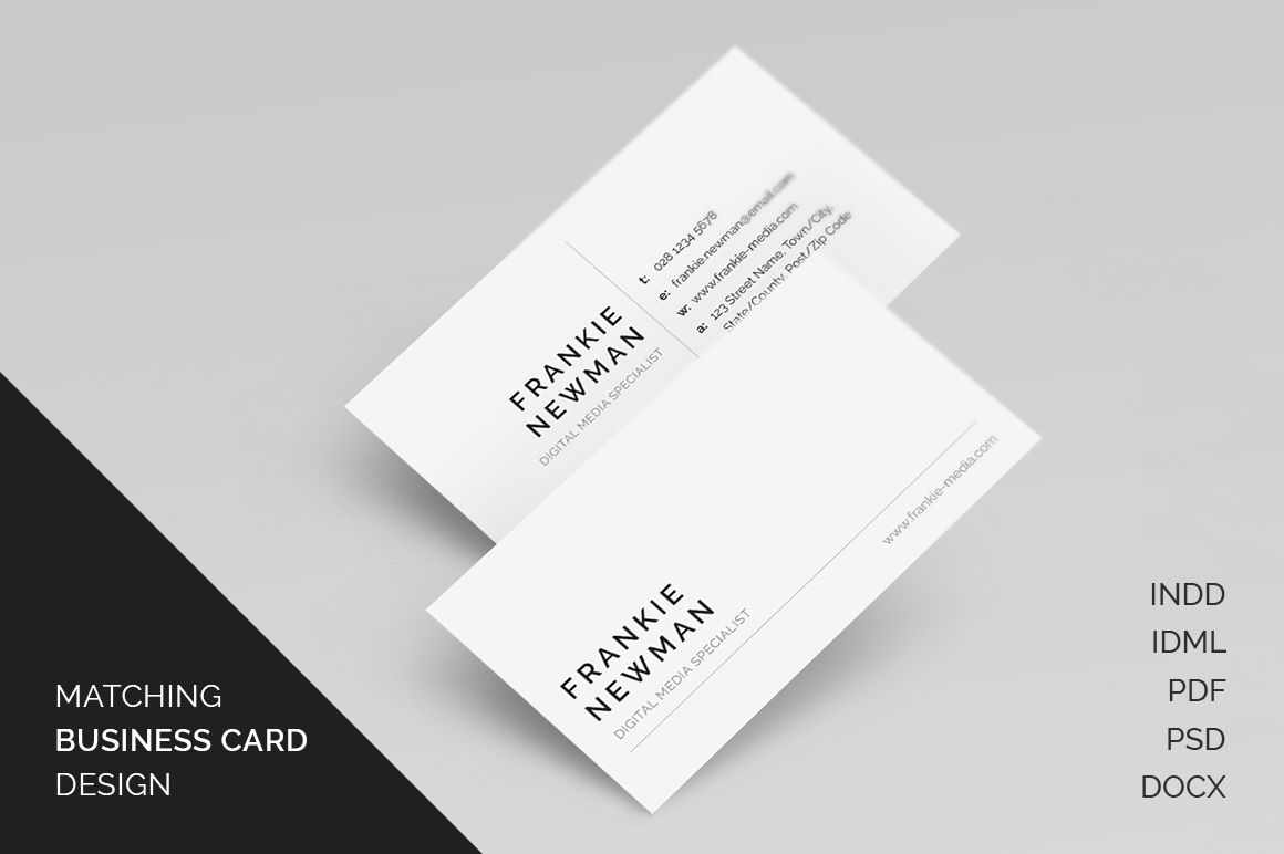 Free Matching Business Card Resumecv Cover Letter Template