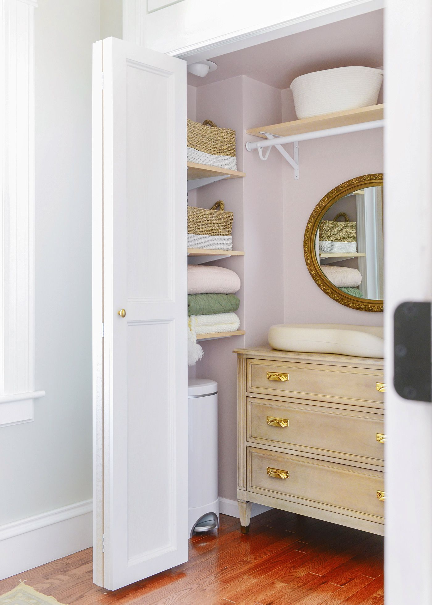 How We Added Created A Multi Functional Nursery Closet On A Budget Via Yellow Brick Home Pink Close Small Closet Space Small Kids Room Baby Nursery Closet