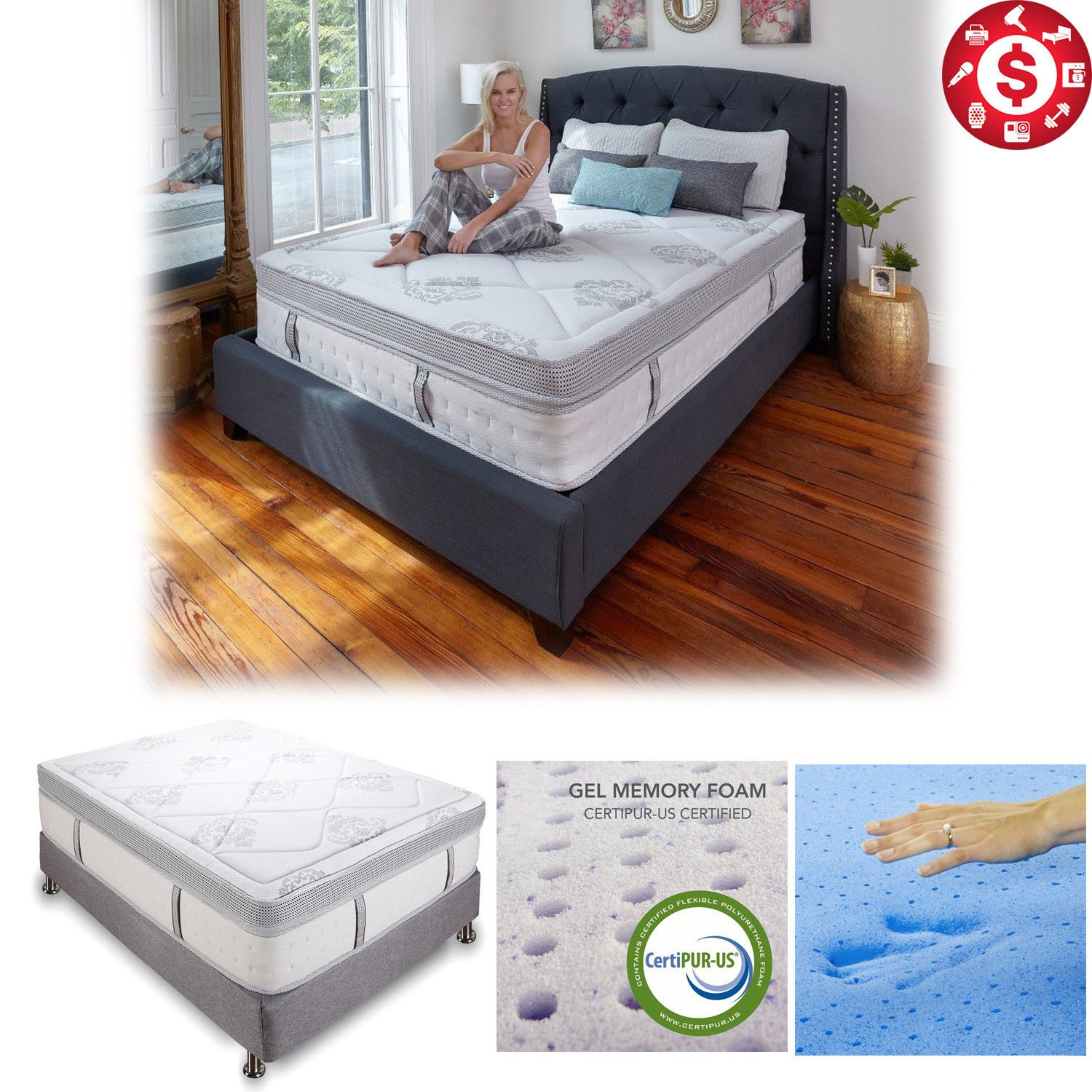 14 inch king size mattress cool gel infused memory foam innerspring