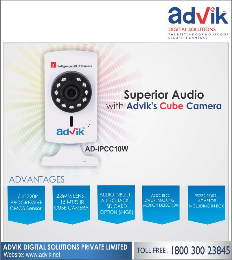 Advik's 2 MP #CubeCamera is equipped with superior audio supported by the RS232 protocol, which makes communication faster and more reliable by reducing the response time. This is one high quality #camera that comes with 2 years warranty and aided by its hard electrical connection to ensure there are no accidental damages. Audio jack for speakers,1/2.8' Sony CMOS sensor with 1080 pixel resolution, connectivity via WIFI and LAN, 2.8mm lens, viewing angle of more than 90 degrees and DWDR…