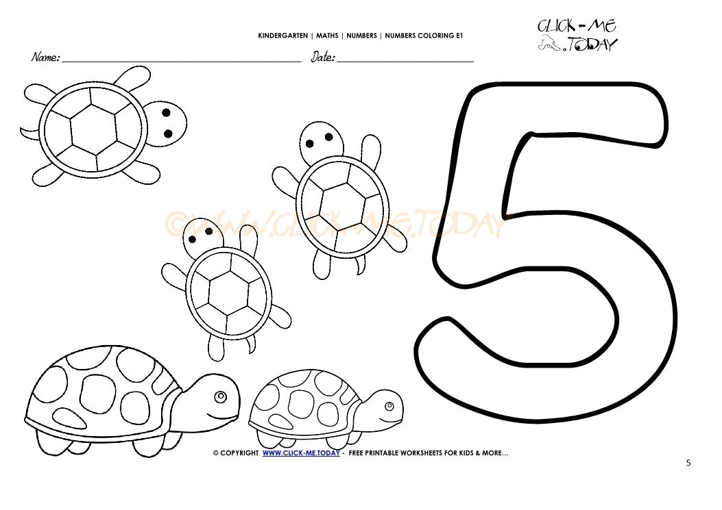 Number Coloring Pages Number 5 Kindergarten Worksheets