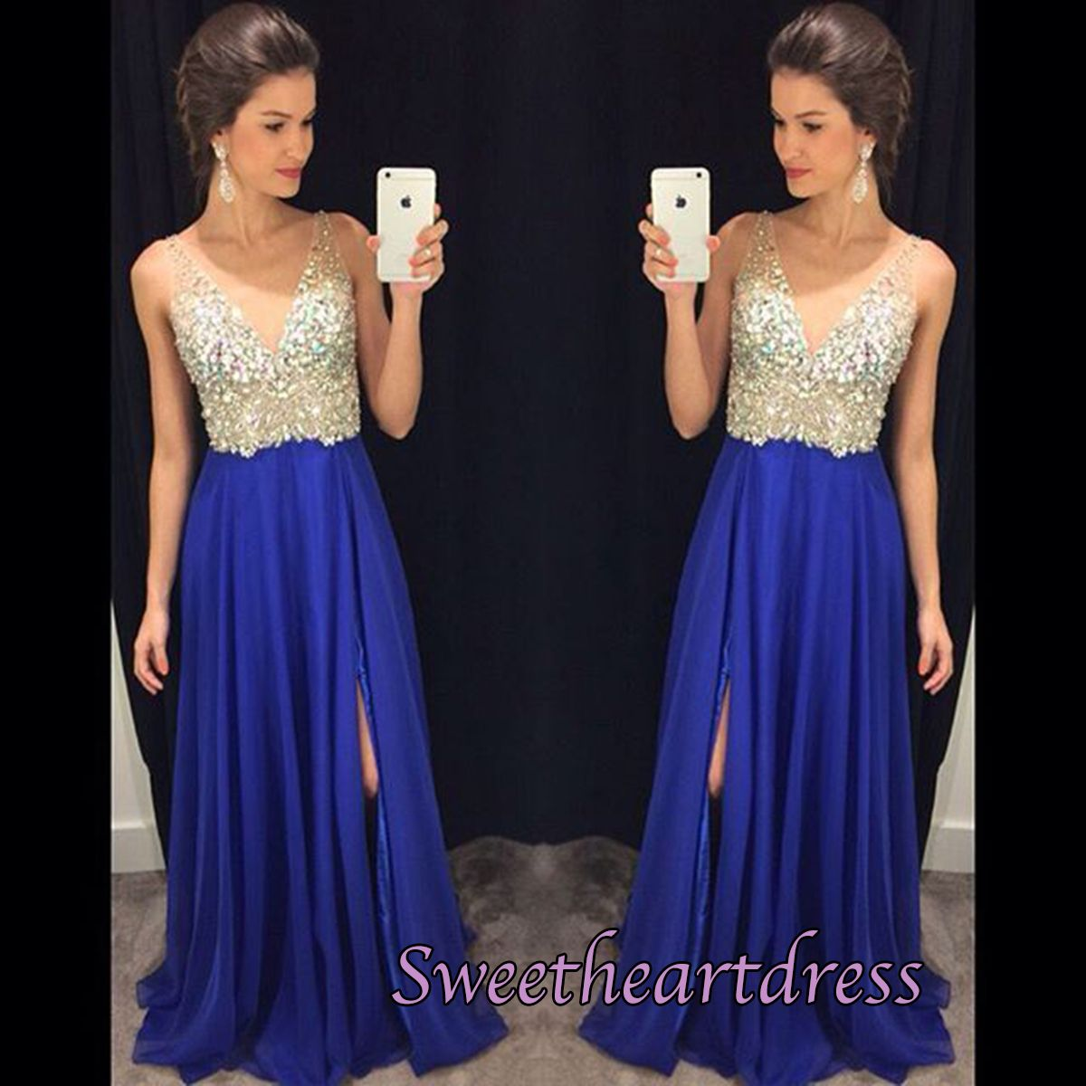 Elegant v-neck blue chiffon prom dress with sequins top, homecoming ...