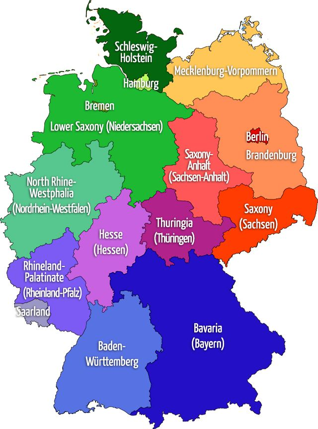 Map of GERMANY: 16 states   with both German/English names