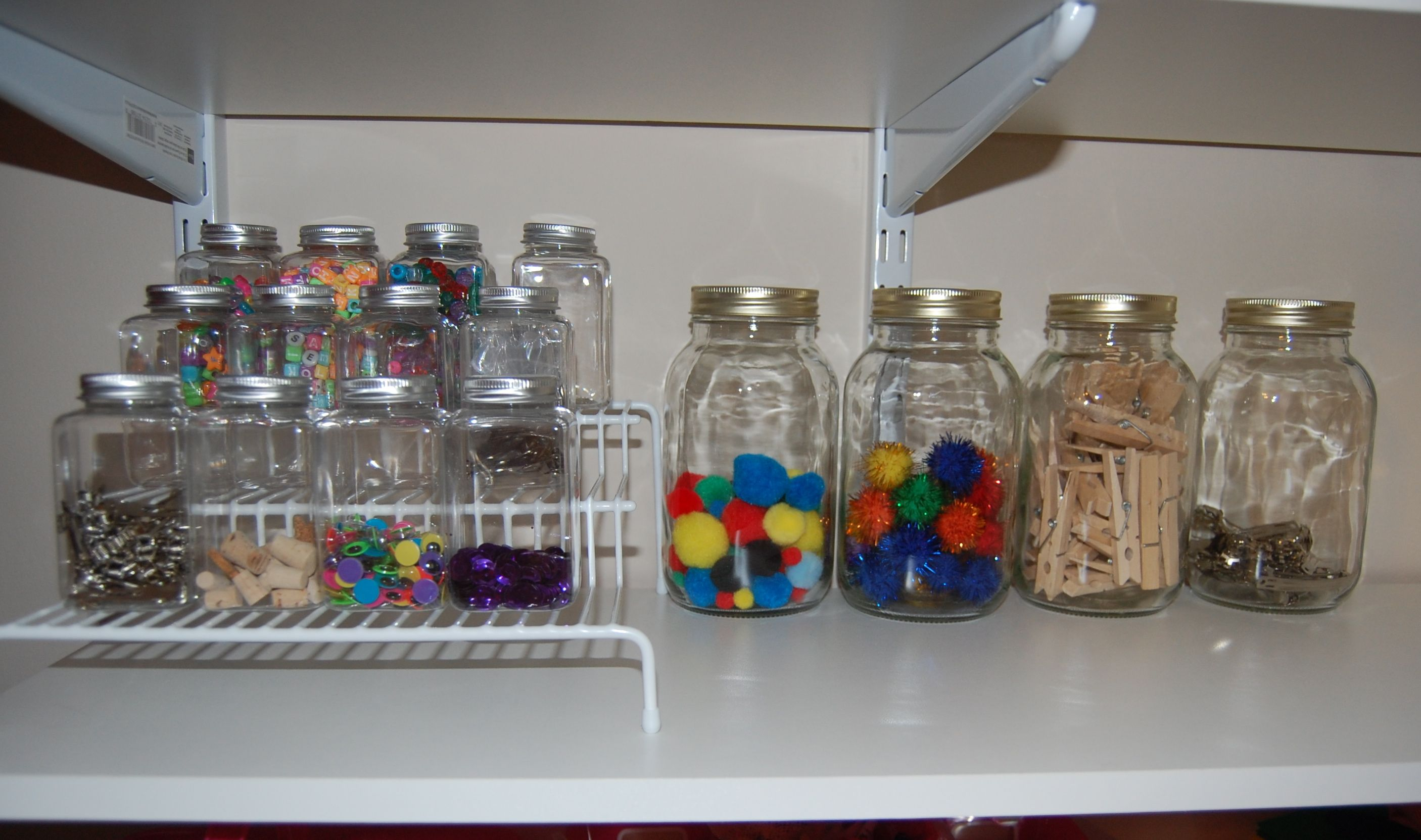 Great recycling idea for empty jars to fill with crafting goodies