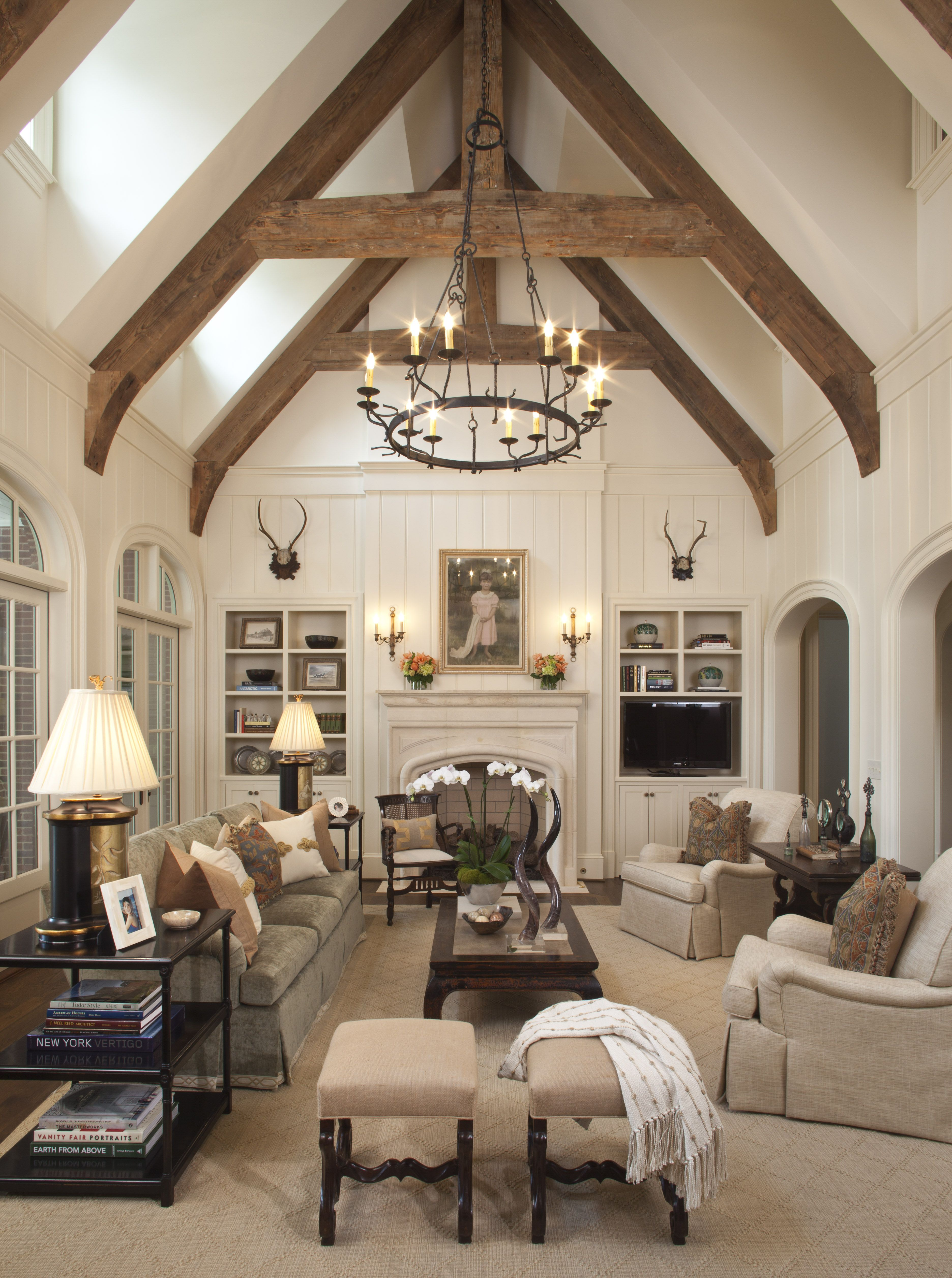 Great Room with timber trusses designed by TS Adams Studio ...