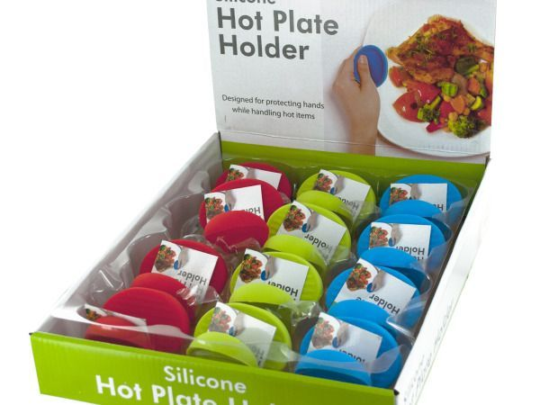 Silicone Hot Plate Holder Countertop Display, 12 - Perfect for moving hot plates, this Silicone Hot Plate Holder features a durable silicone holder with gripping ridges designed for protecting hands while holding hot items. Simply grip the holder around edges of hot dishes and other serveware. Comes packaged with a hang tag. Countertop display comes with 12 pieces in assorted colors.-Colors: green,blue,red. Material: plastic. Weight: 0.2292/unit