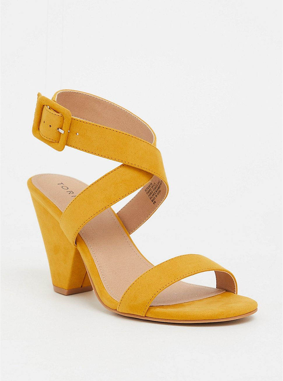 Mustard Yellow Wrap Cone Heel (Wide