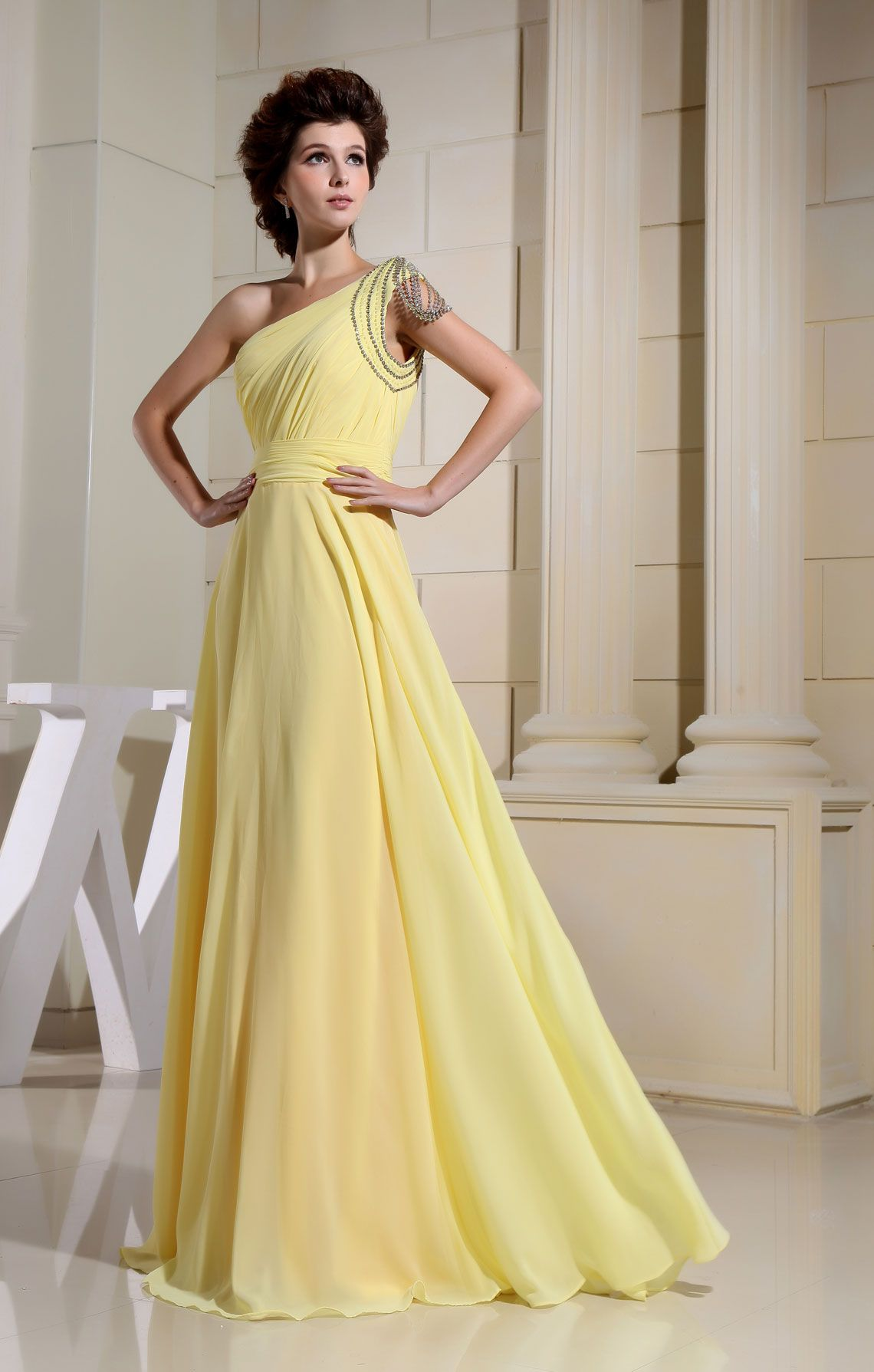 Long one shoulder chiffon sleeveless crystals daffodil evening dress