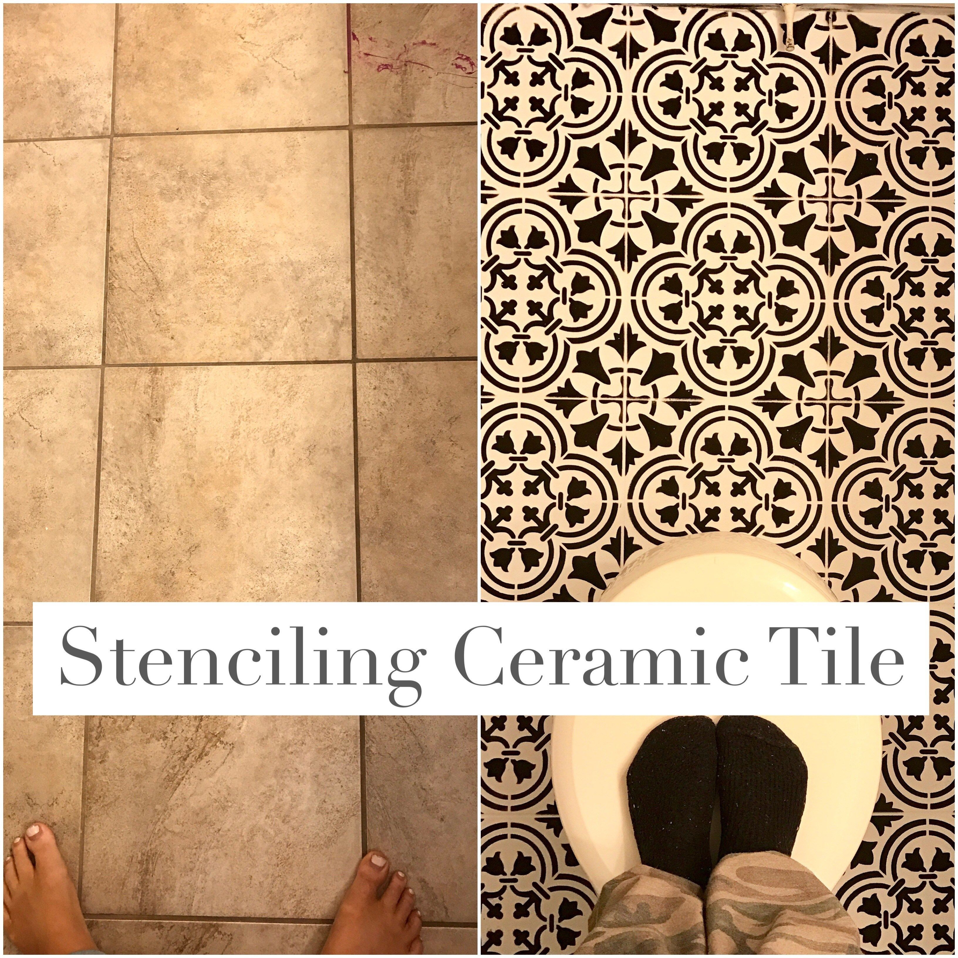 Paint ceramic tile with stencil and chalk paint how to update paint ceramic tile with stencil and chalk paint how to update bathroom floor on a dailygadgetfo Images