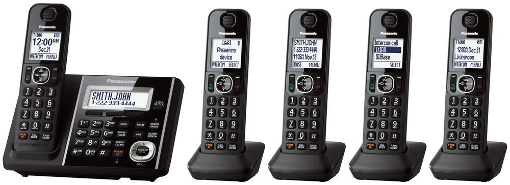 FAMILY HOME CORDLESS PHONE SYSTEM (FIVE) 5 Handsets ...