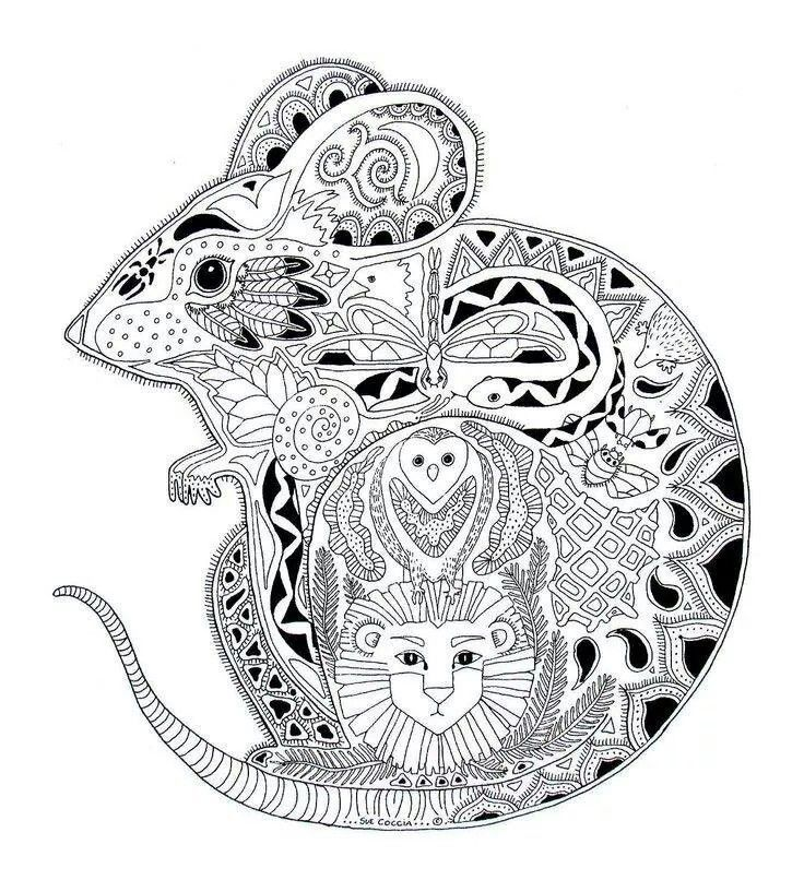 Free coloring page coloring-adult-animals-mouse. Drawing of a ...