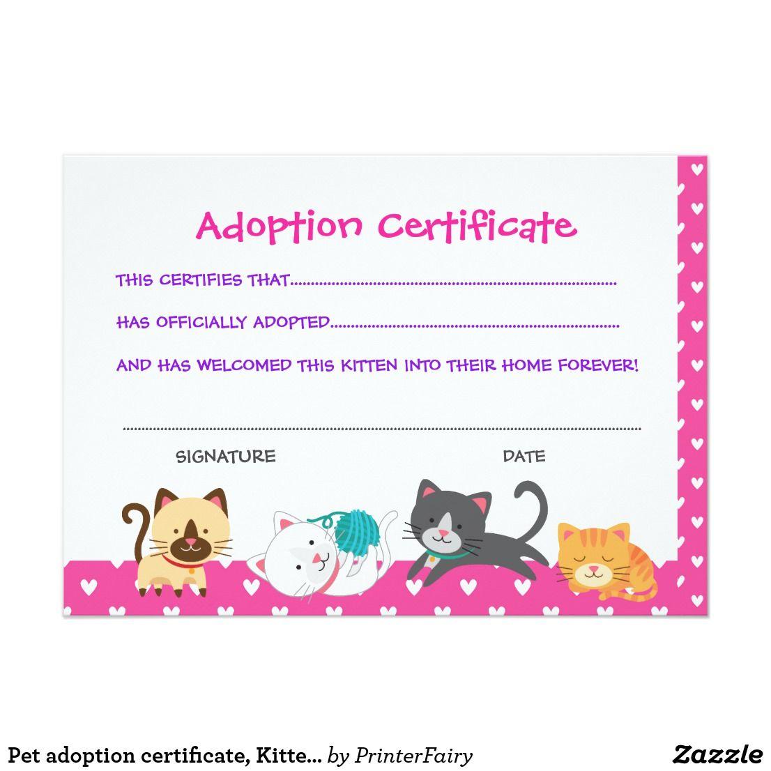 Pet Adoption Certificate Kitten Birthday Invitation Zazzle Com Pet Adoption Certificate Pet Adoption Party Pet Adoption Birthday Party