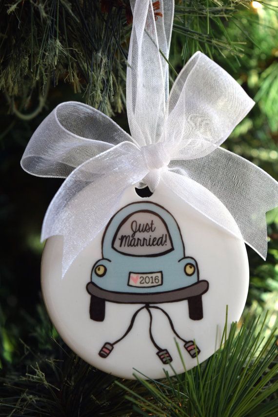 Bride and Groom Wedding Engagement Bridal Shower Married Marriage Modern Just Married Flower Floral Rose Ceramic Christmas Ornament Our First Christmas as Mr and Mrs 2019 Tree Ornament