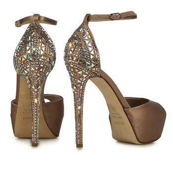 SANDAL IN SATIN, SILK SATIN WITH CRYSTALS