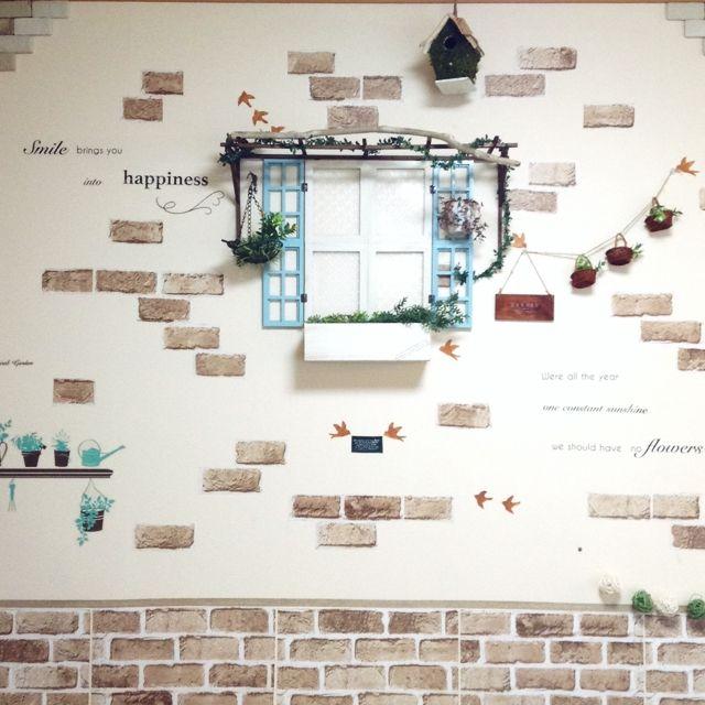 kohakuruさんの、フレーム,フェイクグリーン,植物,いつもいいね!ありがとうございます♪,セリア,100均,雑貨,DIY,ハンドメイド,レンガシート,流木,フェイク窓,パーゴラ,壁/天井,のお部屋写真