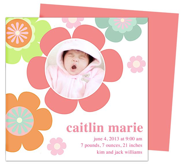 Jumbo Florets Baby Birth Announcements Templates, Printable Diy