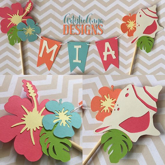Hawaiian Cake Bunting Topper - Smash Cake Banner - Moana Themed Birthday - Luau Decorations - Tropical Hibiscus Seashell  sc 1 st  Pinterest & Hawaiian Cake Bunting Topper - Smash Cake Banner - Moana Themed ...