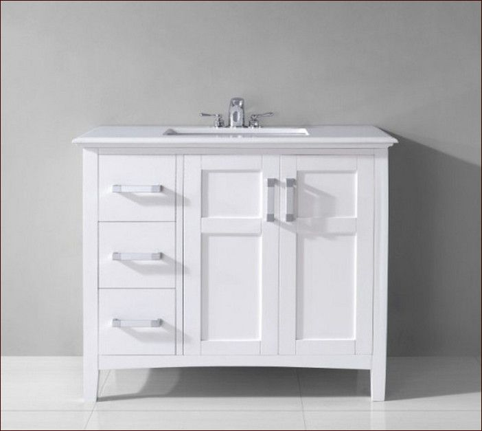 Modern And Simple 30 Inch White Bathroom Vanity With Drawers U0026 Qualified  And Strong Stainless Steel Faucet U0026 Square Shallow White Sink