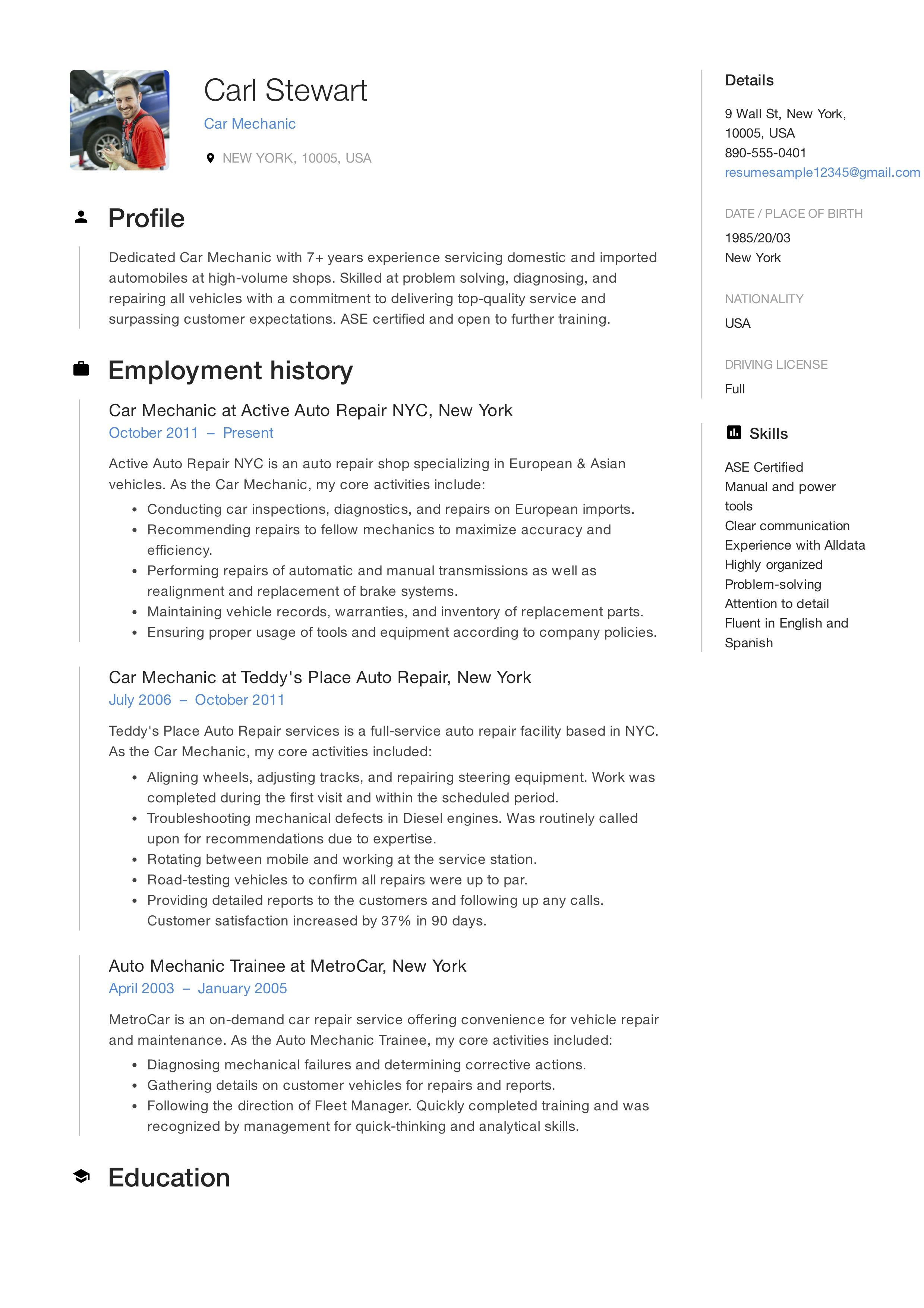 Free Car Mechanic Resume Sample Template Example Cv Resume Skills Manager Resume Resume Guide