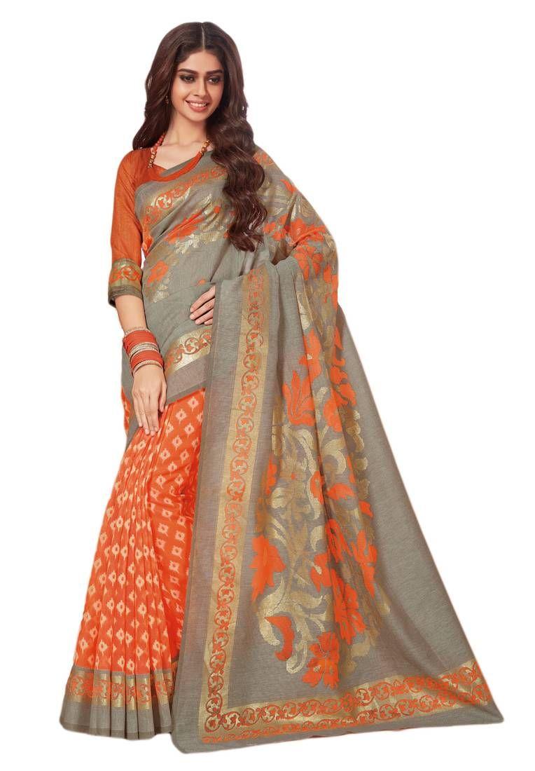 12e64037bc Grey printed brasso saree with blouse | Brasso sarees | Saree ...