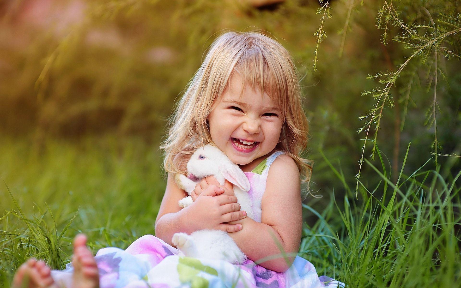 cute smiling child girl with rabbit wallpaper,images,pictures,photos