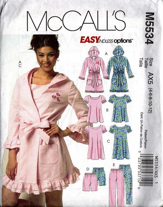 dfcd469e601f Girls Robes pajamas night gowns clothing Patterns by ARubensRubies ...