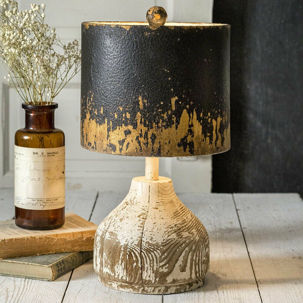 Rustic Wood Base Tabletop Lamp With Metal Shade Country Farmhouse Primitive In 2020 Metal Lamp Shade Table Top Lamps Farmhouse Lamps