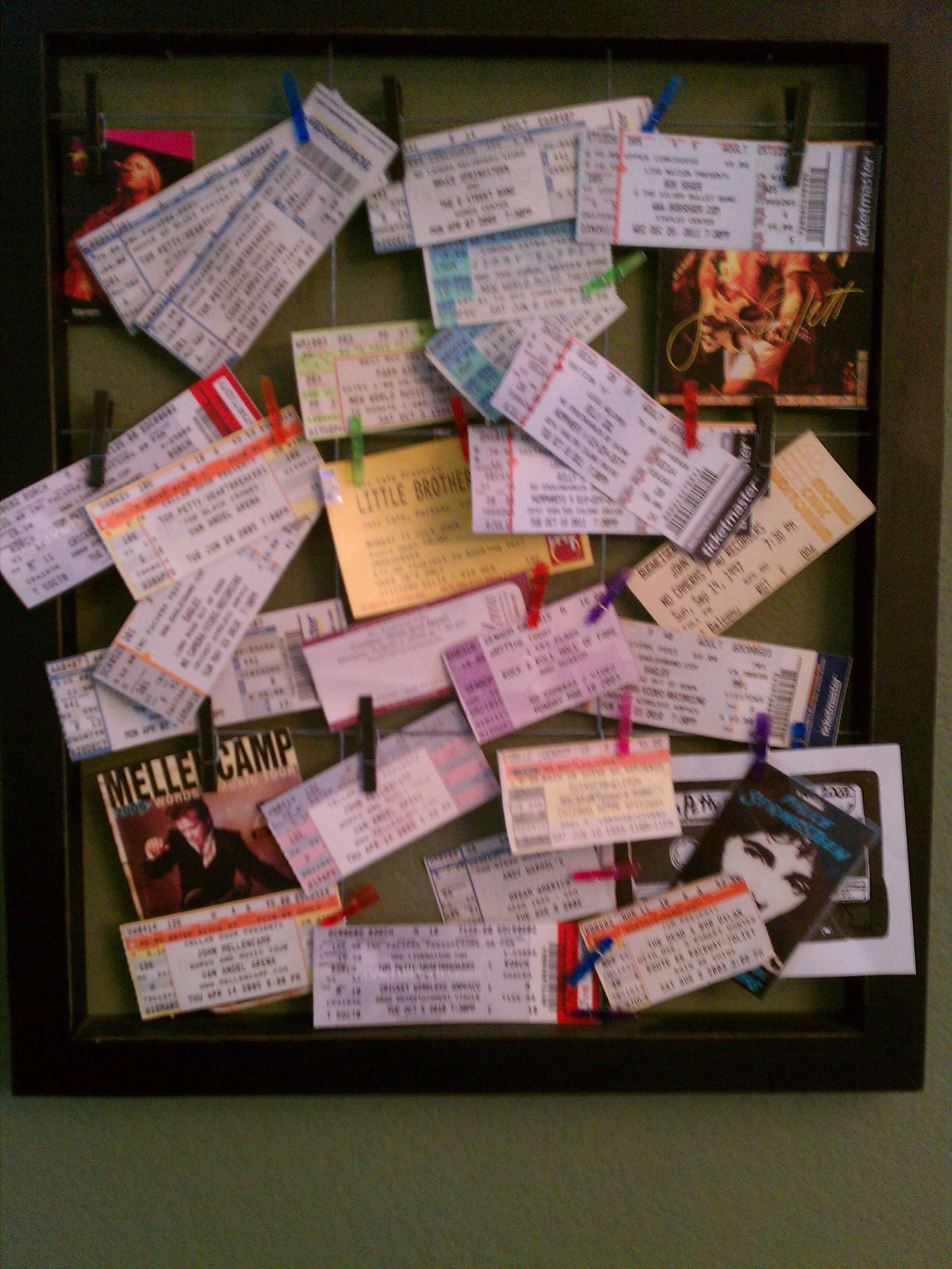 Concert Tickets Displayed! I am so doing this for my apartment ...