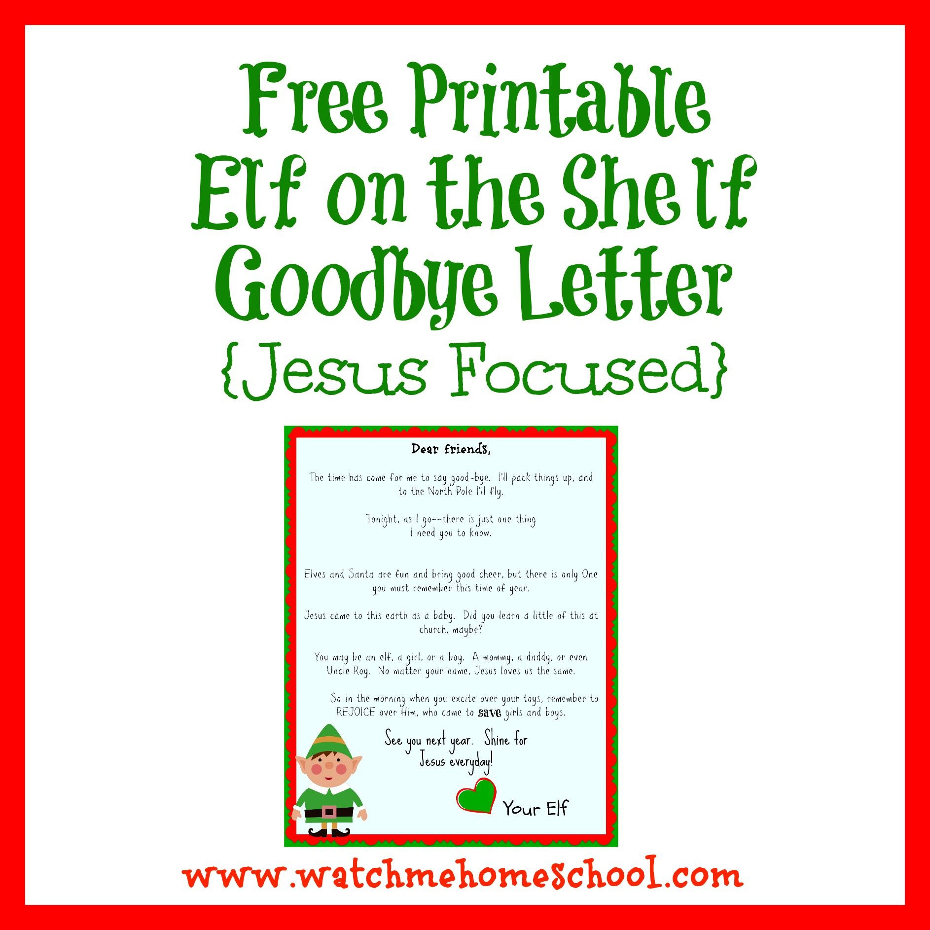 Free Printable Elf on the Shelf Goodbye Letter Elf