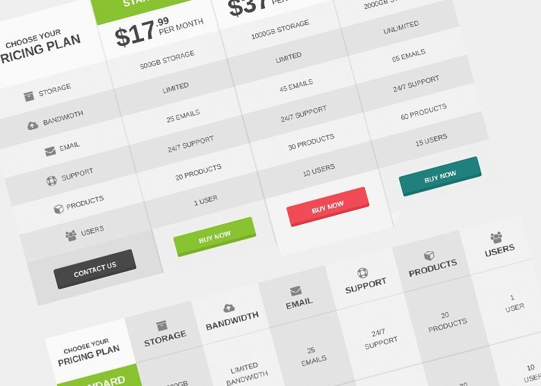 Free Flat Pricing Table  Comparison Table PSD Template Pricing