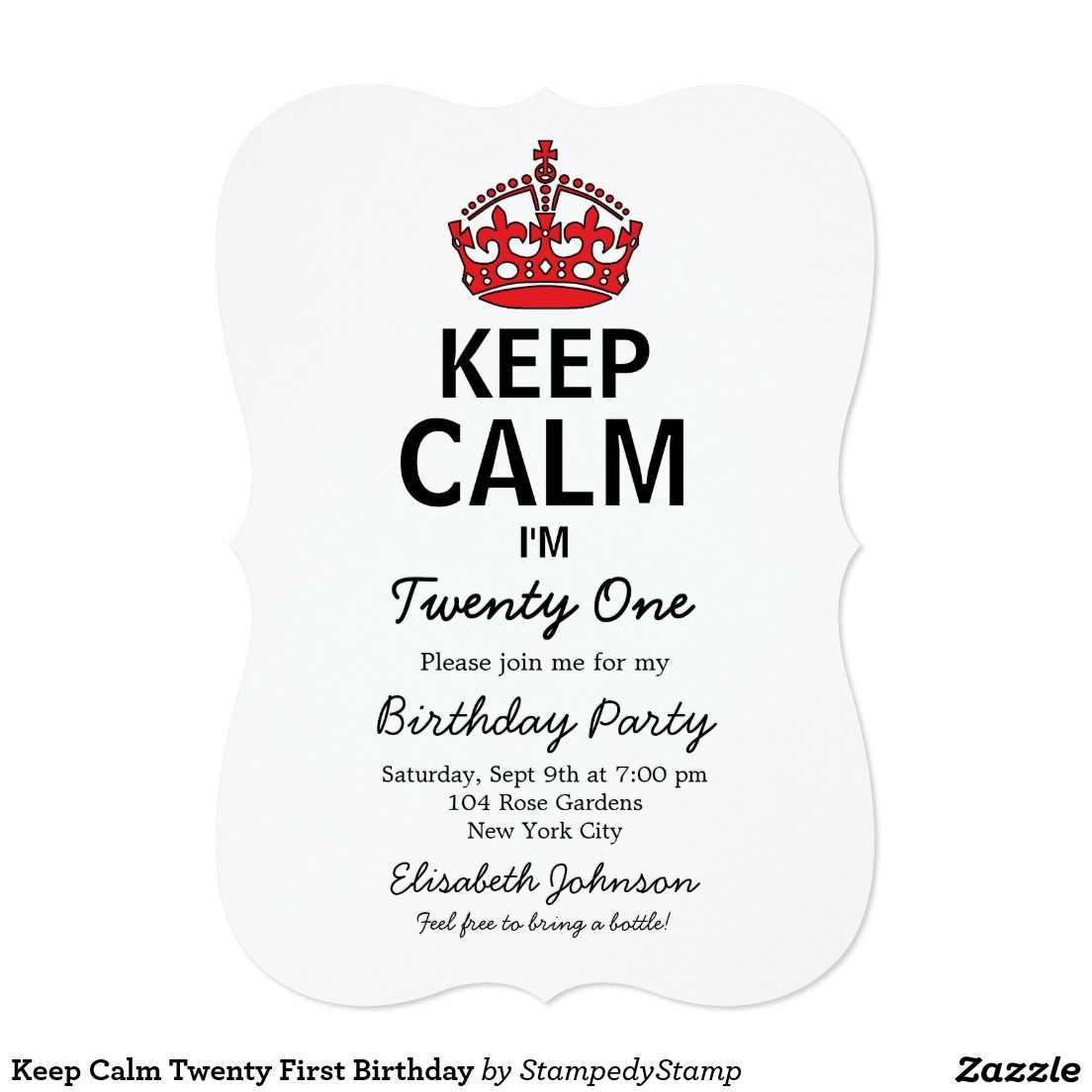 Keep calm twenty first birthday card birthday invitations keep calm eighteenth birthday invitation stopboris Images