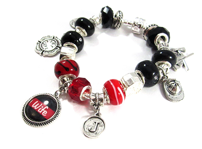 1d45c55882549 Firefighter - Personalized Red Line Snake Chain Charm Bracelet ...