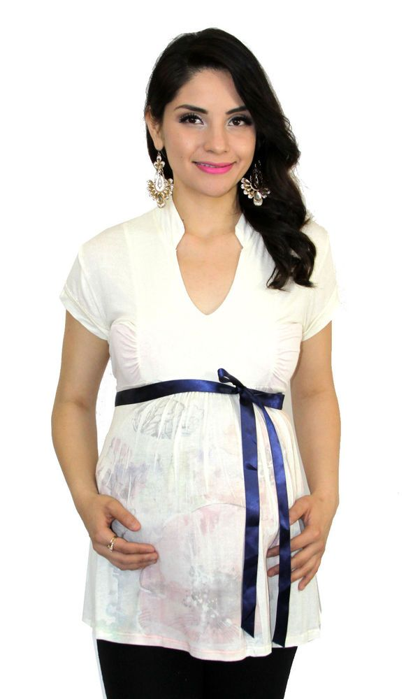 Coral Maternity Short Sleeve Maternity Top Casual Womens S M L XL FREE SHIPPING