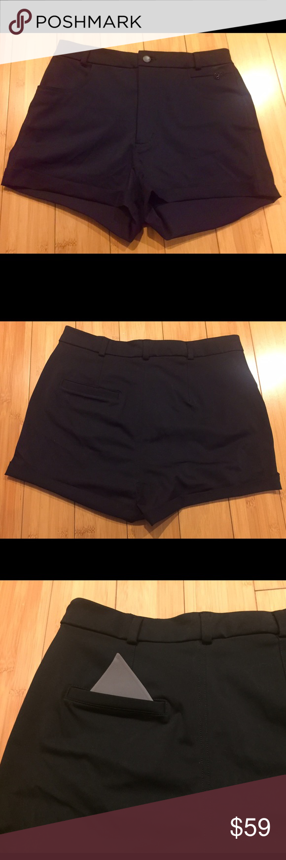 """Lululemon Get It On dress shorts sz10 New w/o tags Lululemon shorts are from the """"Get It On"""" collection. They're super comfortable and flattering. From the original tag: """"Wear these high-waisted shorts around town or pack them in your bag en route to a sunny destination. Sweat-wicking fabric has two-way stretch to move with you. Front zipper pocket to secure essentials."""" Hidden reflective pocket. High-rise, 1 7/8"""" inseam. New, never worn but no tags. Pet-free, smoke-free home. lululemon…"""