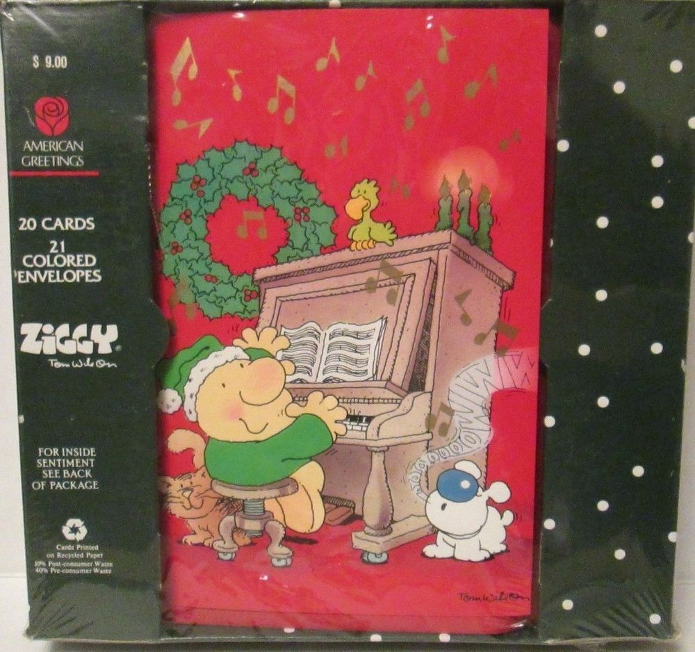 New Box Of 20 American Greetings Ziggy Christmas Cards Singing At