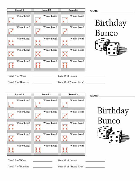 Birthday Bunco Score Card - Templates - | BUNCO | Pinterest | Bunco ...