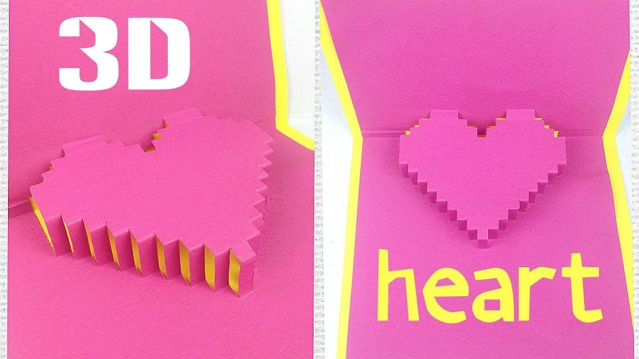 Diy 3d Heart Pop Up Card Tutorial Easy Greeting Gift Card Love Design Ideas For Boyfriend For Pixel Hear Pop Up Card Templates Heart Pop Up Card Card Tutorial